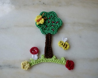 my tree in his garden in bloom handmade crochet cotton (7 pieces)