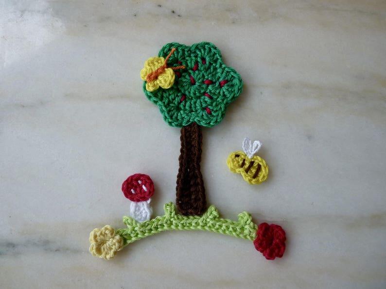 my tree in its handmade flower garden crocheted cotton 7 pieces