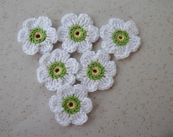 6 white flowers crochet - yellow/green Center