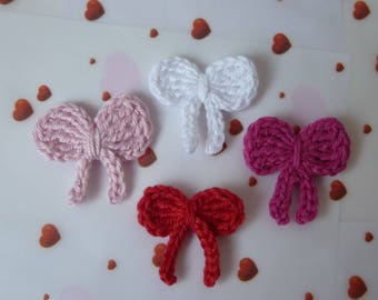 set of 4 mini bows with crochet cotton