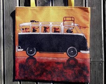 Tote bag VW COMBI van bus HANDMADE