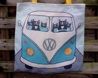 Tote bag Volkswagen COMBI BUS van handmade