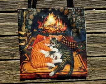 Tote bag cats KITSCH handmade