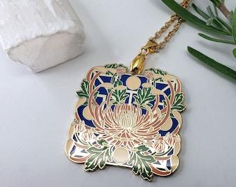 Chrysanthemum Flower Hard Enamel Necklace – Seeking Glass Series