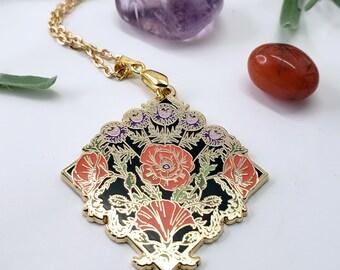 Poppy Flower Hard Enamel Necklace – Seeking Glass Series