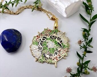 Hawthorn Flower Hard Enamel Necklace - Seeking Glass Series