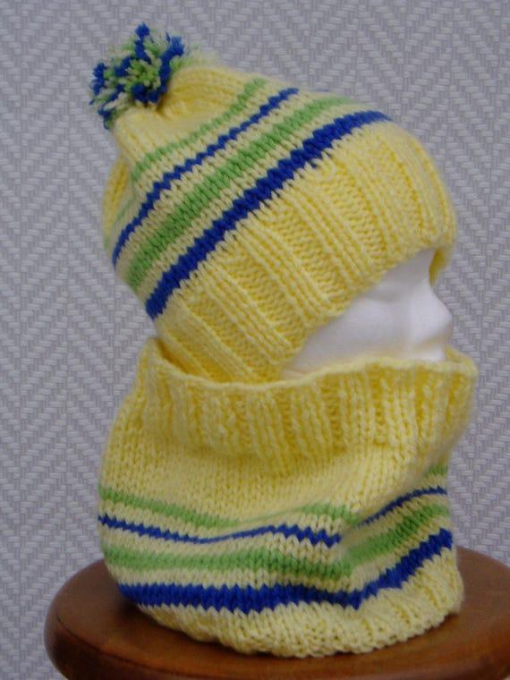 Bonnet écharpe snood en laine jaune Chamonix   Etsy 8422ccb71b3