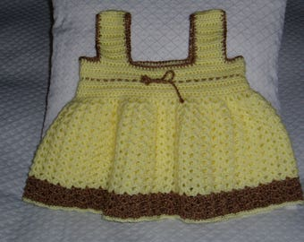 Acrylic yarn in yellow and Brown Baby pinafore dress hand crocheted