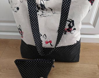 Large tote & cosmetic bag! Shopping tote bag/ holiday tote bag/ shoulder bag/ weekend tote bag. Perfect Gift for her.