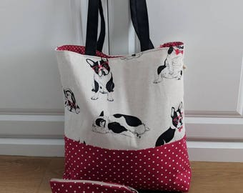Large tote bag & cosmetic bag/ holiday tote bag/ shoulder bag/ weekend tote bag/ Perfect gift for her.