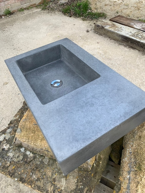 Anthracite bathroom  Concrete sink
