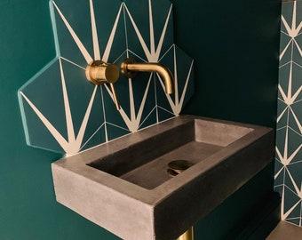 Small bathroom concrete sink