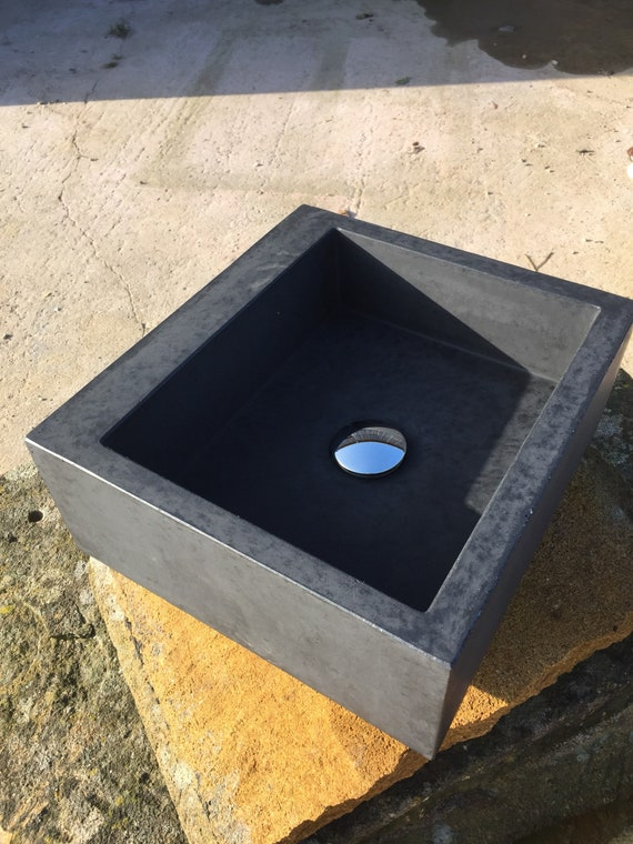 Black concrete sink