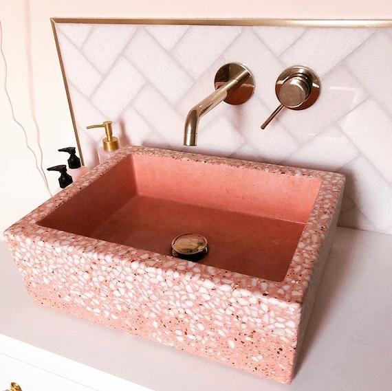 Terrazzo bathroom concrete sink