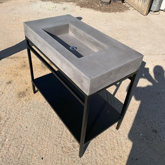 Large Bathroom concrete sink and frame