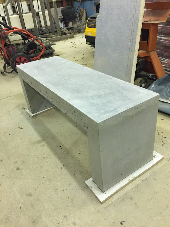Bespoke hand trowelled polished concrete bench handmade