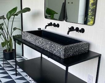 Black terrazzo Concrete sink