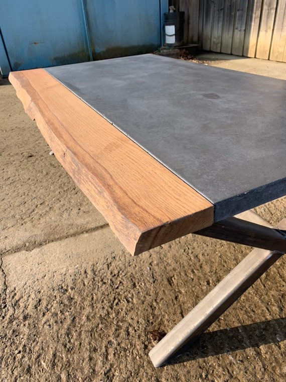Bespoke oak concrete table