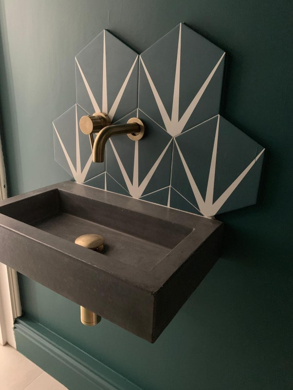 Small bathroom concrete sink