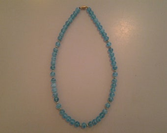 VINTAGE BLUE GLASS Beaded Necklace