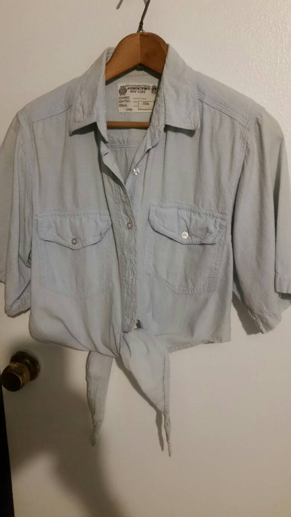 Vintage Navy Blouse with Shoulder Pads