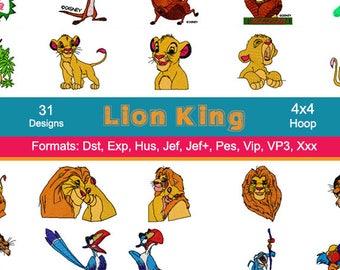 31 Disney Lion King Machine Embroidery Designs, Lion Embroidery, 4 Inch Hoop, Instant Download, Pes, Hus, Jef, Dst, Exp, Jef+, Vip, Vp3, Xxx