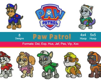 8 Paw Patrol Embroidery Machine Designs, 4 Inch Hoop, Chase, Skye, Zuma, Rubble, Marshal, Instant Download