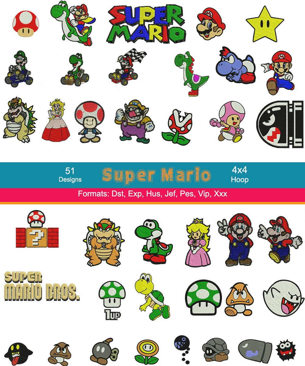 51 Super Mario Embroidery Designs Mario Kart Embroidery | Etsy