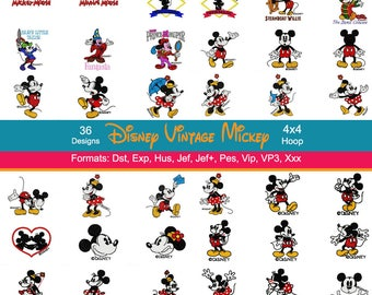 36 Disney Vintage Mickey and Minnie Mouse Machine Embroidery Designs, Steamboat Willie, Instant Download