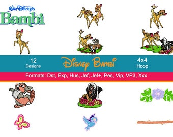 12 Disney Bambi Embroidery Machine Designs, Bambi Embroidery, Thumper Embroidery, 4 Inch Hoop, Instant Download