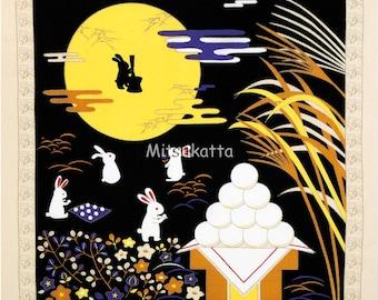 Rabbit Christmas Night  Japanese Furoshiki Wrapping Cloth  Small