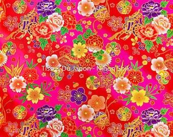 Pink fabric flowers etsy fabric pink fan flower origami fabric japanese asian 50x50cm mightylinksfo