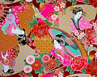 Maiko fabric - Fabric Geisha - fabric pattern Maiko Geisha - red gold Japanese fabric - 50x50cm Coupon - TU52