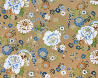 Japanese Fabric flower by the Yard beige gold asian pattern