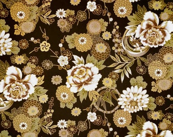 Japanese Fabric flower by the Yard dark brown gold pattern