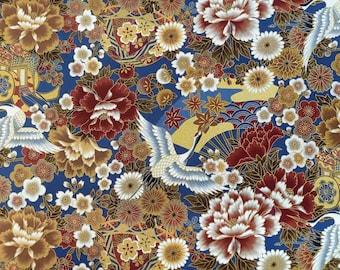 Japanese Fabric Yard Flower Blue Bird gold fan Temari