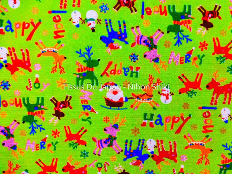 49x50cm Green Christmas fabric Santa Claus