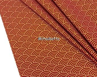 Japanese fabric by the yard burgundy geometric gold wave