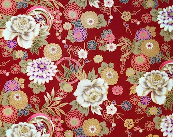 Japanese Fabric flower red burgundy pattern by the Yard