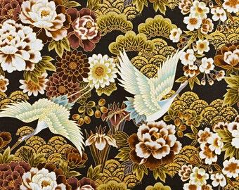 Brown japanese print flower fabric bird crane