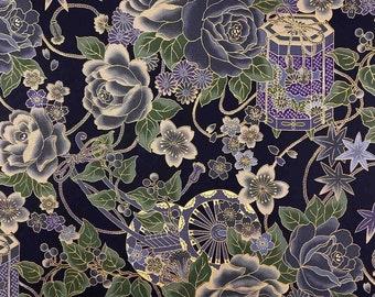 Japanese fabric by the yard, large flower fabric, black fabric, asian pattern, rickshaw, meter