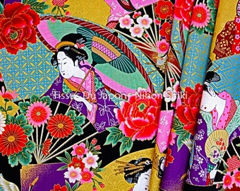 Maiko fabric - Fabric Geisha - fabric pattern Maiko Geisha - dark green Japanese fabric - 50x50cm Coupon - TU53