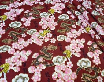 Japanese Fabric by the Yard Burgundy tiger dragon