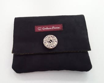Clutch, worn coin, Kit, makeup, multi uses, to slip in your bag, Bohemian clutch, Black Suede olive green fabric