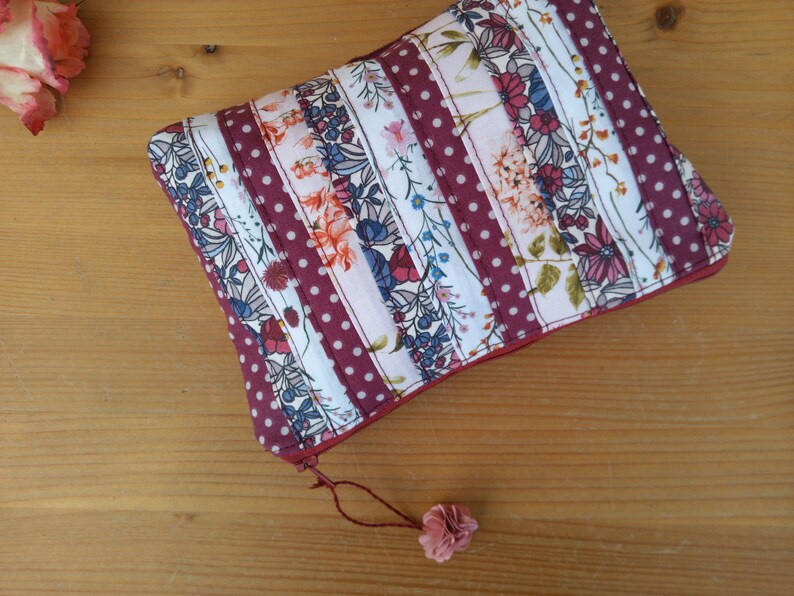 boho kit floral patterns burgundy suede peony colours storage kit Patchwork pouch fabric kit