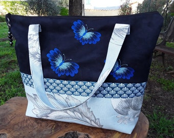 Large tote bag, tote bag black suede fabric fabric blue, off-white large floral printed, embroidered with three blue butterflies