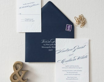 Blind Letterpress Lace Invitation SAMPLE