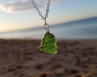Spiral Wrapped Green Sea Glass Necklace, Seaglass Pendant, Beach Jewellery, Natural Jewelry, Ocean Finds, Unique Handmade Gift, Versatile