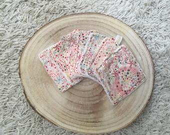 Make-up remover squares washable wipes liberty adelajda pink and organic bamboo sponge