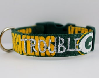 a80094e5160 NFL Green Bay Packers Collar, Packers Dog Collar, Personalized Collar,  Embroidered Dog Collar, Dog Collar, Green Bay Collar, NFL Dog Collar